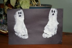 Halloween Foot Print Ghosts Craft for Kids