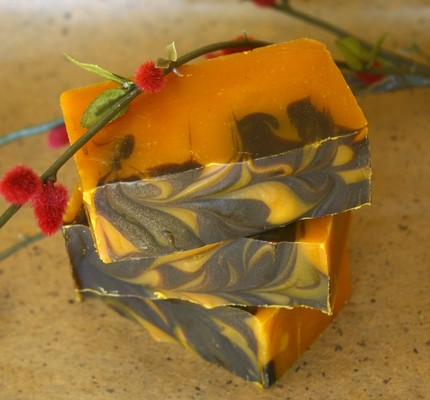 Chocolate pumpkin spice cake soap