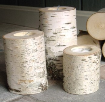White Birch Tea Light Holders