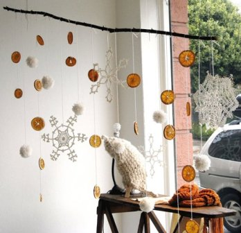 Snowflakes-And-Oranges Window Hanging