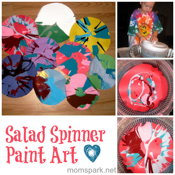 spin art salad spinner paint collage
