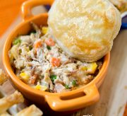 My recipe for Chicken Pot Pie with Puff Pastry is the perfect balance of tastiness and time-saving. Utilizing a roaster chicken saves you time without losing any flavor. If you are on a tight budget, you can always cook a whole chicken at home, or even used can chicken to save a dollar or two.