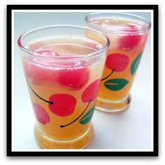 Apricot Coolers with Cherry Ice Cubes Recipe