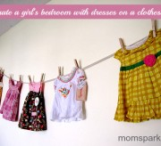 Hang Dresses on Clothesline to Decorate a Girl's Bedroom