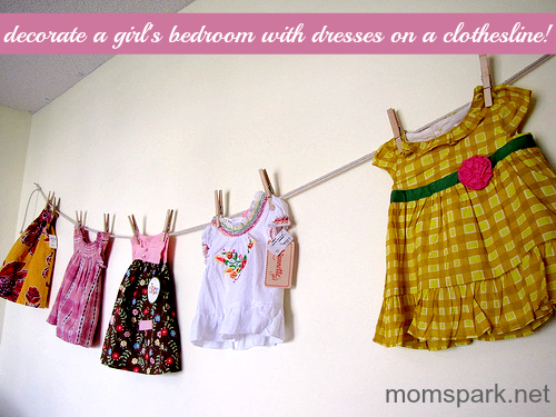 dresses on clothesline to decorate a girl's bedroom
