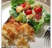 Seafood Lasagna and Caesar Salad