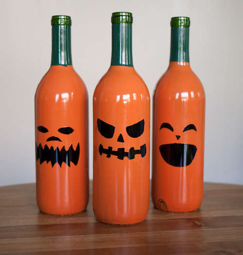 Wine Bottle Jack-o'-Lantern DIY Halloween