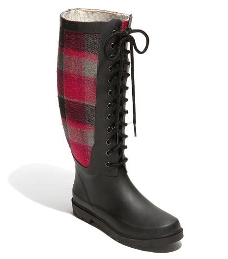 plaid winter women's boots fashion