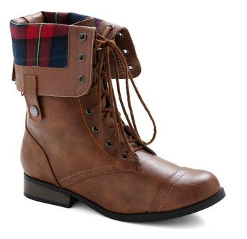 plaid fold down brown winter boots women's fashion