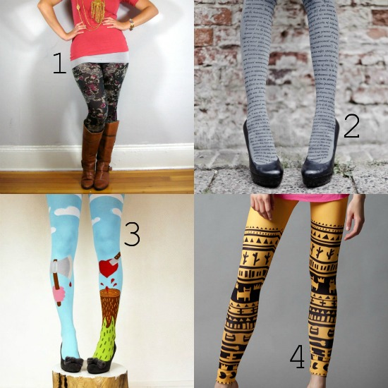 printed tights leggings women's fashion
