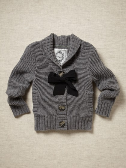 gray girls cardigan bow