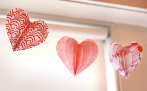 simple fabric heart garland