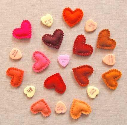 fabric hearts Valentine's Day