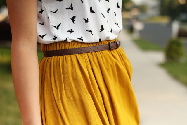 mustard yellow skirt