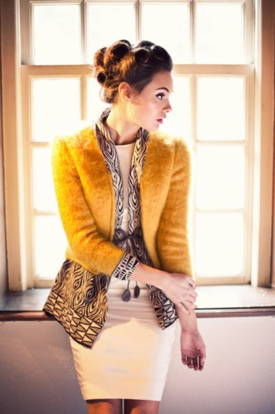 mustard yellow blazer coat