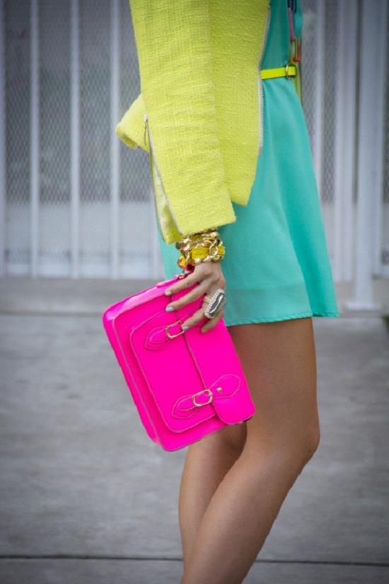 neon pink clutch purse