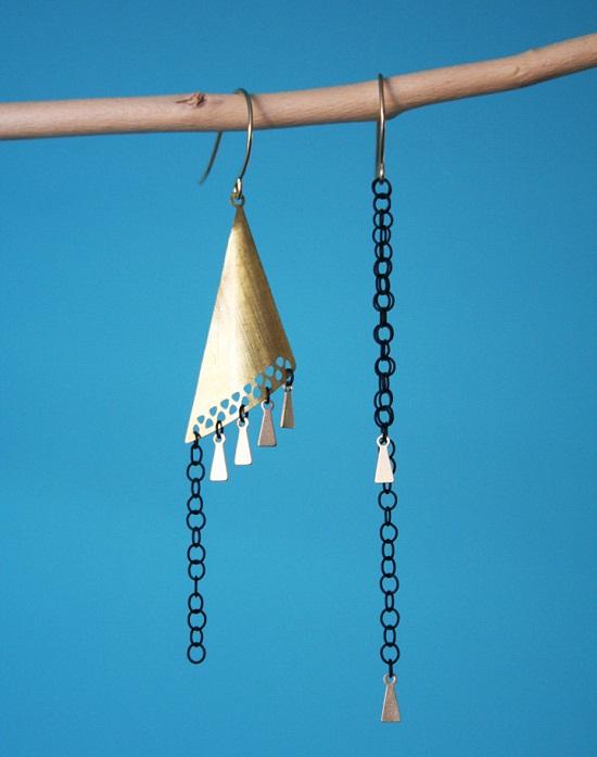 black dangle unique earrings