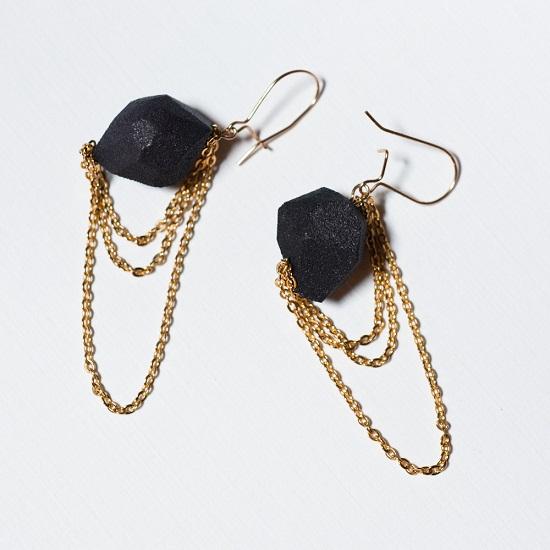 black rock gold chain earrings