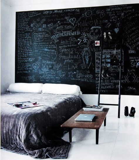 chalkboard paint decor in home headboard
