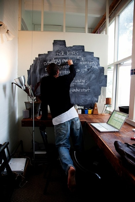 chalkboard paint decor in home office
