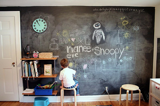 chalkboard paint decor in kid bedroom