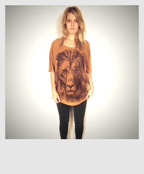oversized flower blouse shirt women's lion