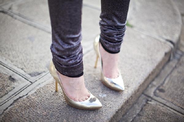 gold metallic heels shoes women's fashion