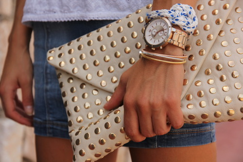 gold studded clutch purse