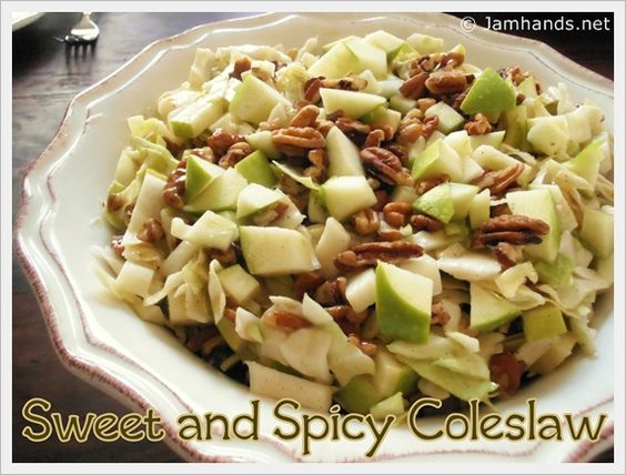 Easy Sweet and Spicy Apple & Pecan Coleslaw