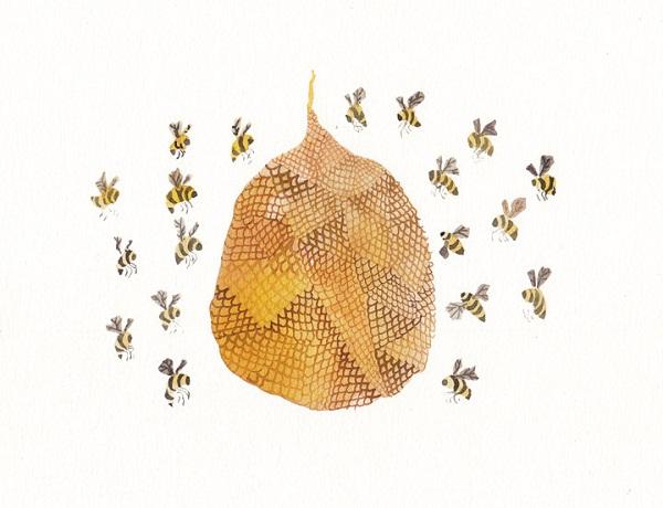 bee hive print art