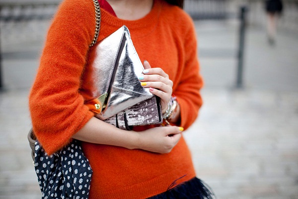 orange blouse sweater fashion
