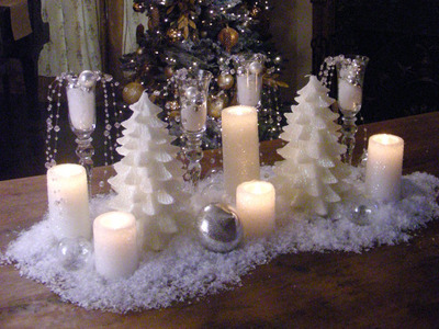 Winter Table Centerpiece Entertaining White Candles
