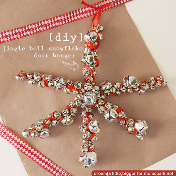 DIY Jingle Bell Snowflake Christmas Door Hanger {tutorial}