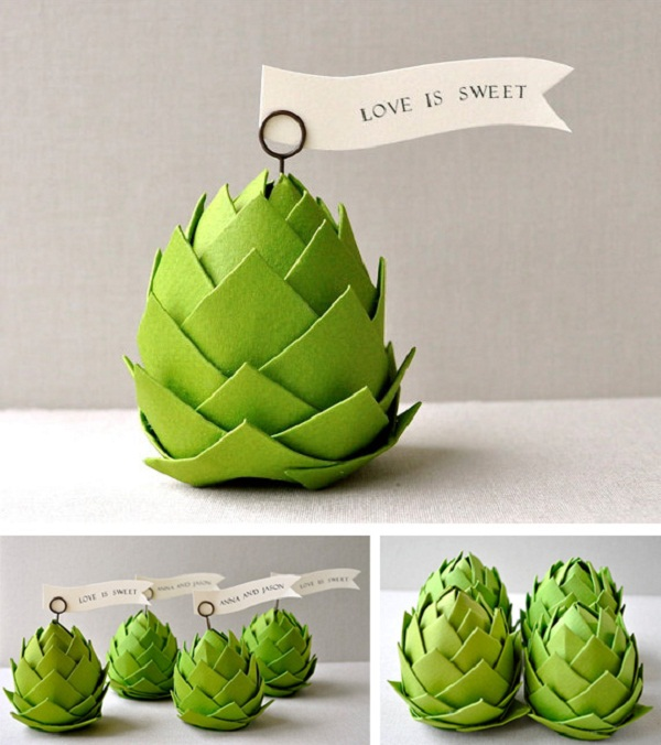 paper pine cone placeholders for parties