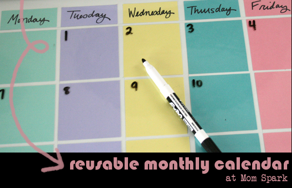 Make a Reusable Calendar for 2013 and Beyond Craft momspark.net