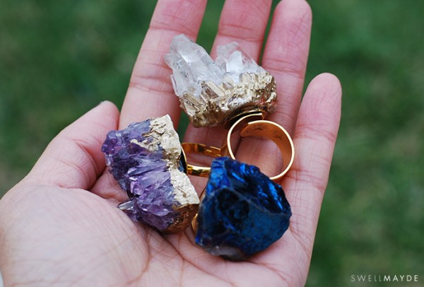 Gilded Gold Geode Rings DIY Tutorial