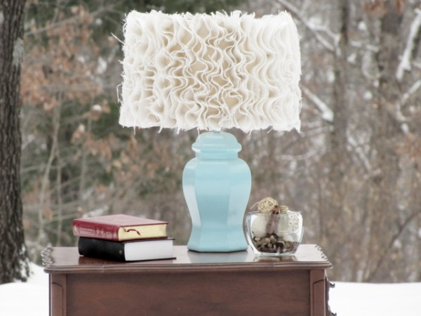 Anthropologie Inspired Ruffled Burlap Lamp Shade DIY Craft