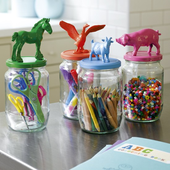 Colorful Animal Jar Lids DIY Craft