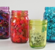 DIY Craft: Bright, Colorful Mason Jars with Mod Podge (tutorial)