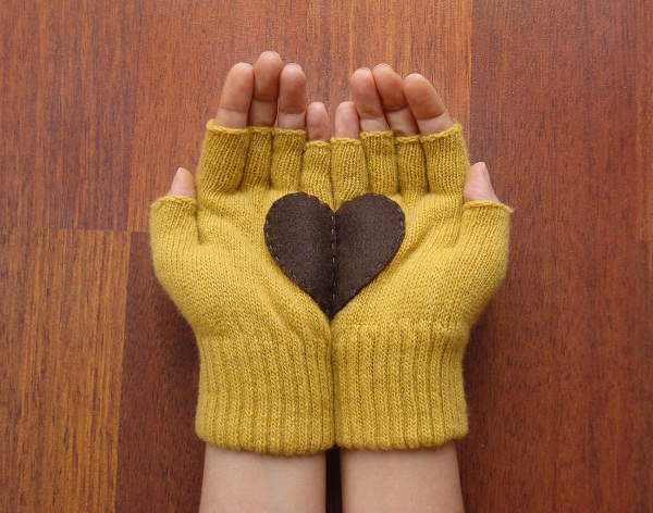 yellow heart fingerless gloves handmade etsy
