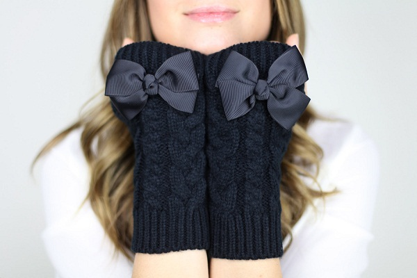 black handmade fingerless bow gloves etsy