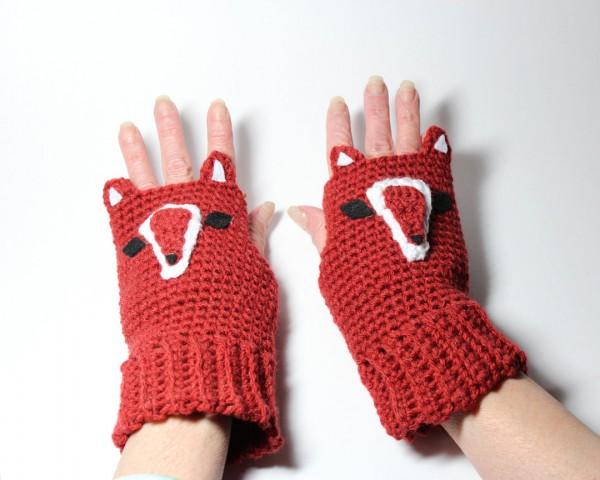red handmade fingerless fox gloves etsy