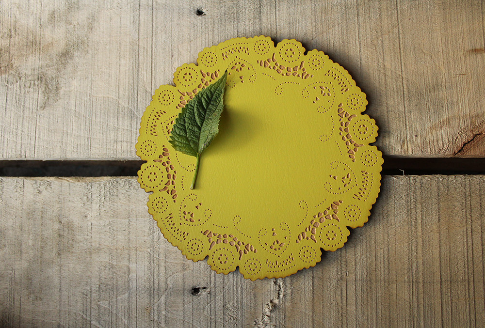 Yellow Wooden Doily