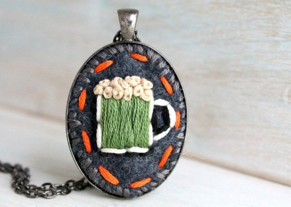 Embroidered St. Patrick's Day Necklaces
