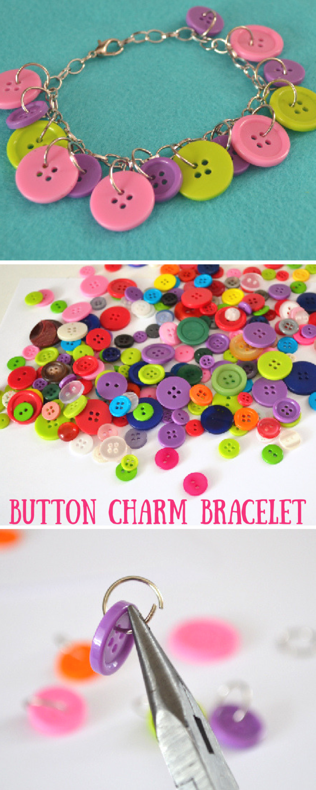 Easy and Cute Button Charm Bracelets Craft Tutorial