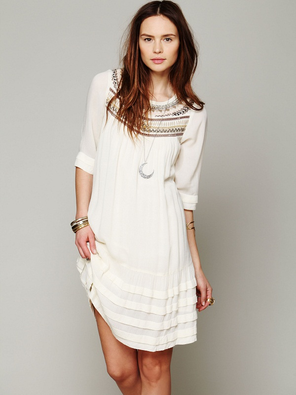 white bohemian dress fashion