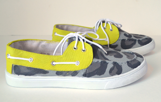 Painted Leopard Lime Boat Shoes Makeover