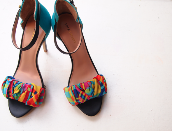 DIY Strappy Sandal Fabric Wrap Shoe Makeover