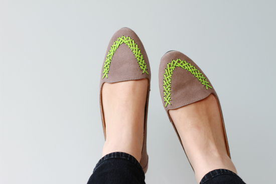 Neon Flats Shoe Makeover