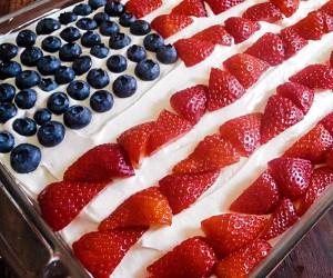 Patriotic Strawberry Poke Cake